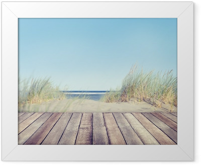 Beach and Wooden Plank Framed Poster