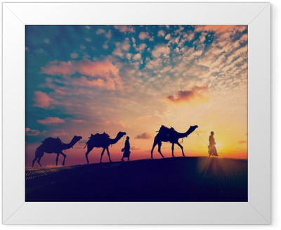 6db78d5c6e88 Two cameleers (camel drivers) with camels in dunes of desert Framed Poster