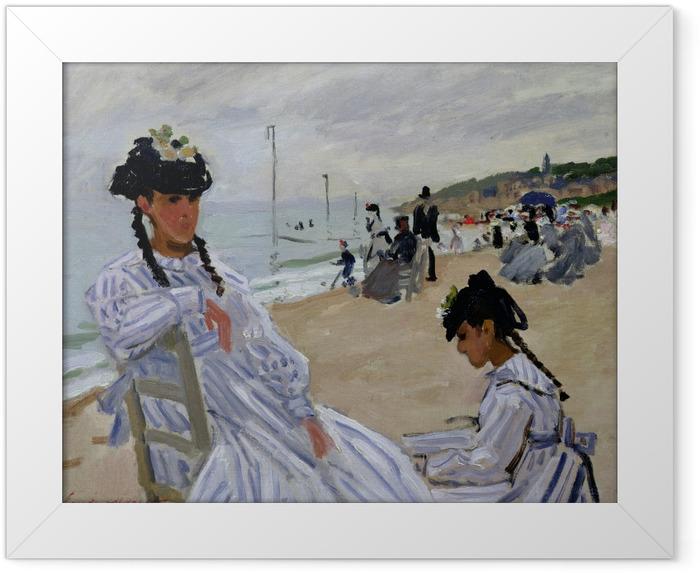 Gerahmtes Poster Claude Monet - Am Strand von Trouville - Reproduktion