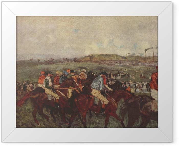 Gerahmtes Poster Edgar Degas - Pferderennen - Reproduktion