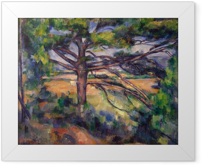 Gerahmtes Poster Paul Cézanne - Die große Kiefer - Reproduktion