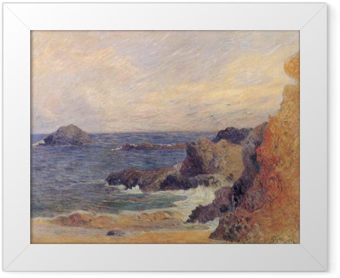 Gerahmtes Poster Paul Gauguin - Felsen und Meer - Reproduktion