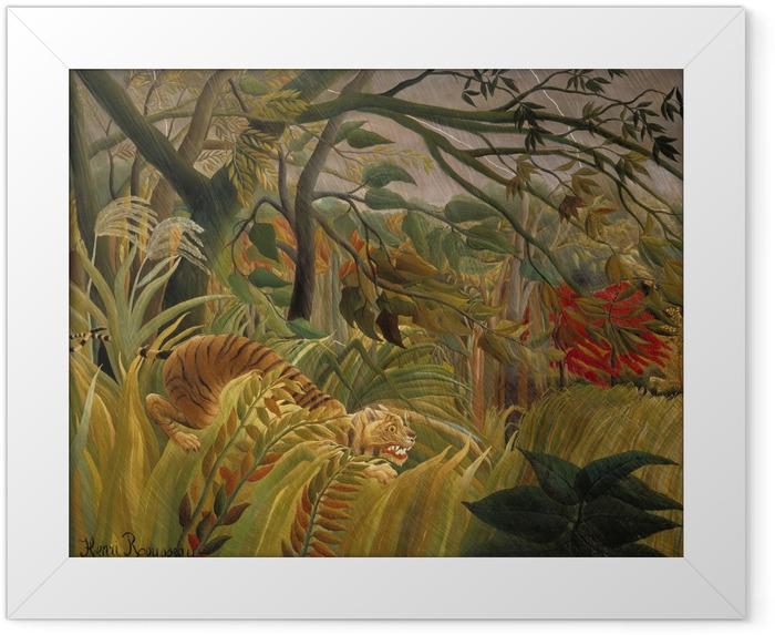 Gerahmtes Poster Henri Rousseau - Tiger in einem tropischen Sturm - Reproduktion