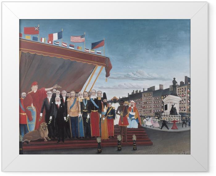 Gerahmtes Poster Henri Rousseau - Die Vertreter der ausländischen Mächte begrüßen die Republik im Zeichen des Friedens - Reproduktion