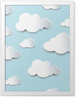 Seamless cutout clouds Framed Poster