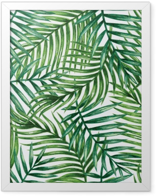 Watercolor tropical palm leaves seamless pattern. Vector illustration. Framed Poster
