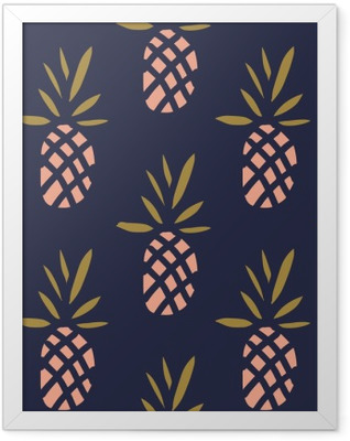 Pineapples on the dark background. Vector seamless pattern with tropical fruit. Framed Poster