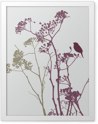 bird on meadow flowers Framed Poster