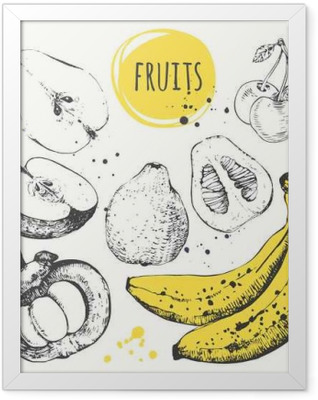 Banana, mangosteen, apple, bergamot. Hand drawn set with fresh food. Framed Poster
