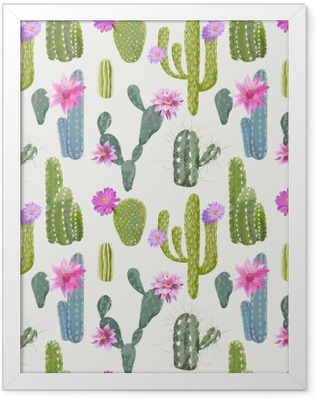 Vector Cactus Background. Seamless Pattern. Exotic Plant. Tropic Framed Poster