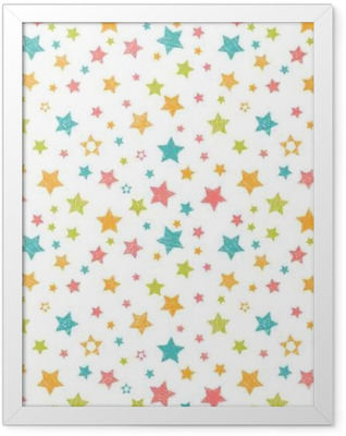 Cute seamless pattern with stars. Stylish print with hand drawn Framed Poster