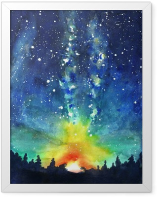 Landscape. Forest, night sky, stars, space. Watercolor hand pain Framed Poster