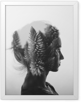 Creative double exposure with portrait of young girl and flowers, monochrome Framed Poster