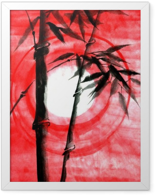 Watercolor ink Japanise bamboo on sunset Framed Poster