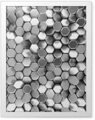 Chrome abstract hexagons backdrop. 3d rendering geometric polygons Framed Poster