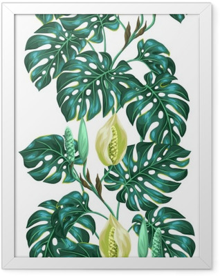 Seamless pattern with monstera leaves. Decorative image of tropical foliage and flower. Background made without clipping mask. Easy to use for backdrop, textile, wrapping paper Framed Poster