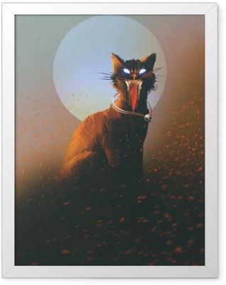 evil cat on a background of the moon,undead,horror concept,illustration Framed Poster