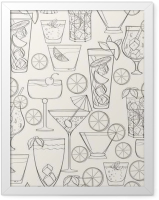 Seamless cocktail pattern Framed Poster