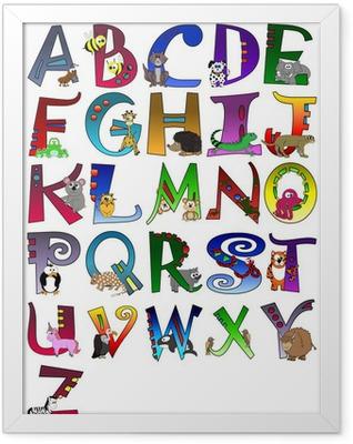 Animal Themed Alphabet Poster A - Z Poster Framed Poster