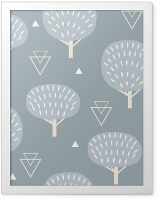 Seamless pattern in modern Scandinavian style. Vector geometry background of north nature. Framed Poster