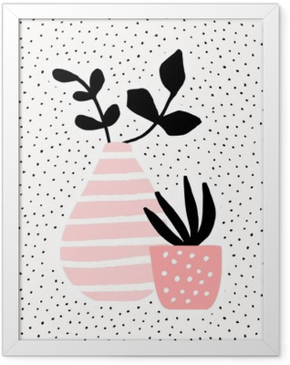 Pink Vase and Pot with Plants Framed Poster