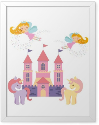 cute pink fantasy castle vector illustration design Framed Poster