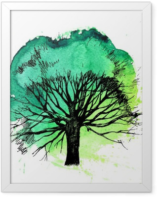 Hand drawn tree silhouette Framed Poster