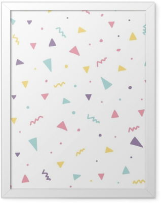 Memphis seamless pattern design with triangle confetti Framed Poster