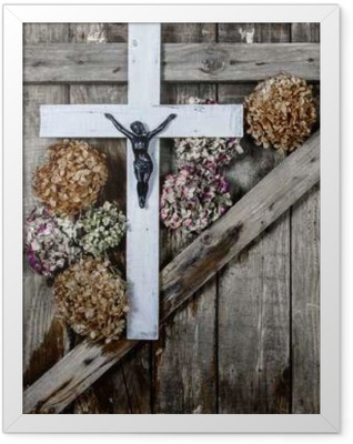 Wooden cross and white hydrangea flower on the background of the old wooden walls Framed Poster
