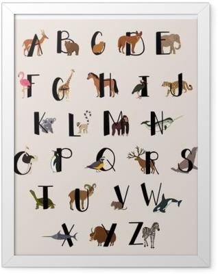 Cute animal alphabet set for kids Framed Poster