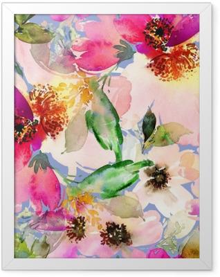 Póster Enmarcado Patrón de verano sin fisuras con acuarelas flores hechas a mano.