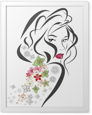 Silhouette of woman with flowers Framed Poster