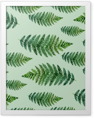 Tropical watercolor abstract pattern with fern leaves Framed Poster