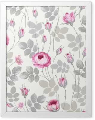 seamless floral pattern with roses in pastel colors Framed Poster