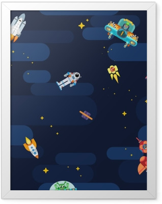 Space star pattern astronauts spaceships and flying aliens Framed Poster