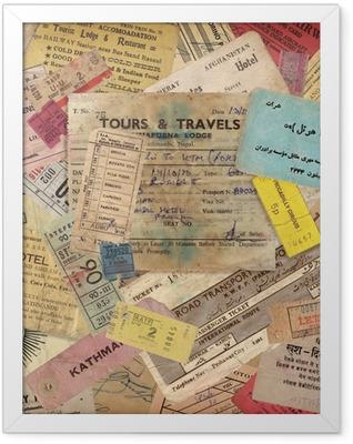 vintage travel background made of old documents Framed Poster