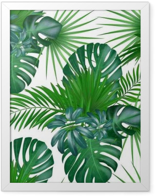 Seamless hand drawn realistic botanical exotic vector pattern with green palm leaves isolated on white background. Framed Poster