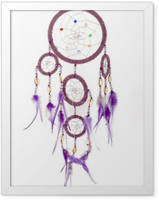 Dream catcher isolated on white. Framed Poster