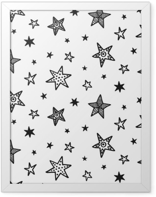 Seamless pattern with hand drawn stars. Scandinavian style Framed Poster