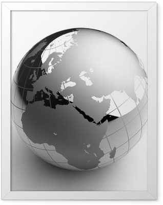 Chrome Globe on white background Framed Poster