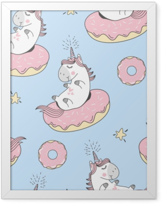 Vector seamless pattern with cute cartoon unicorn and donuts Framed Poster