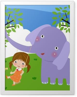 girl and elephant Framed Poster