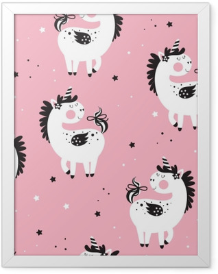 Kids seamless background with unicorns Framed Poster