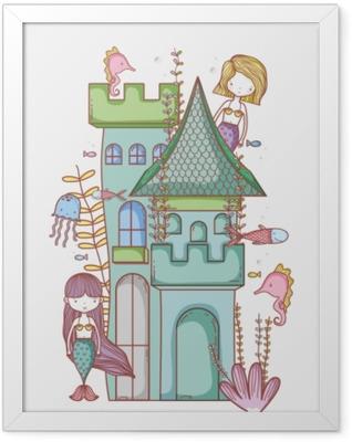 Mermaid on castle cute cartoon Framed Poster