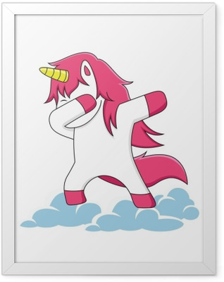 pink unicorn characters dubbing on the clouds Framed Poster