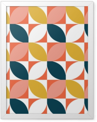 Colorful geometric seamless pattern. Mid century style. Vector background. Framed Poster