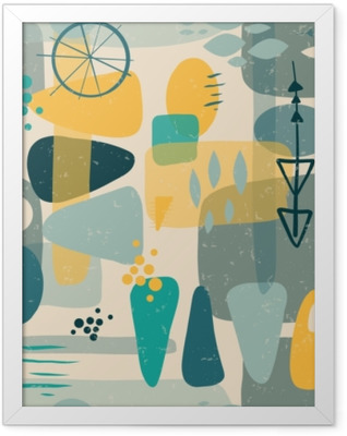 Mid century shapes abstract seamless vector background. 1950s print. Retro inspired shapes squares, rectangles, drops, and triangles in blue, yellow, gray on beige. Distressed vintage print. Fifties Framed Poster