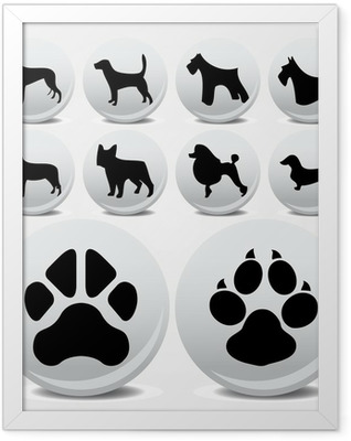 Dogs collection vector icons and footprints Framed Poster