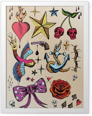 rockabilly tattoo vorlagen farbig Framed Poster