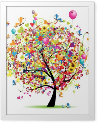 Happy holiday, funny tree with balloons Framed Poster